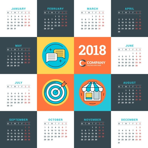 2018-printable-calendars-60 87+ Fascinating Printable Calendar Templates