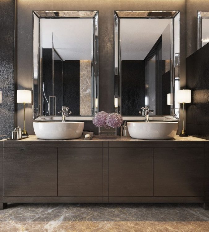 dark-bathroom-modern-decor-2-675x749 15+ Top Modern House Interior Designs for 2019!