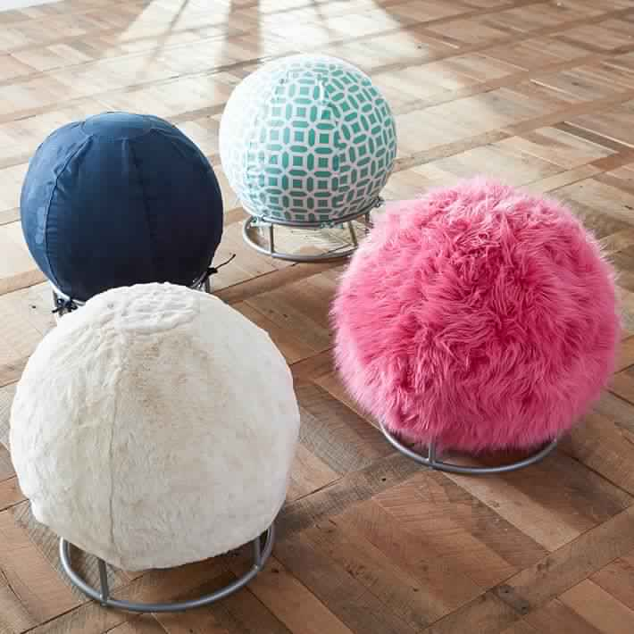 fur-exercise-ball-desk-chairs-o Benefits of using Yoga Ball Chair for your Home or Office