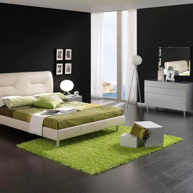 sharp-furniture-black-and-white-bedroom-with-green-decoration-675x675 15+ Top Modern House Interior Designs for 2018!
