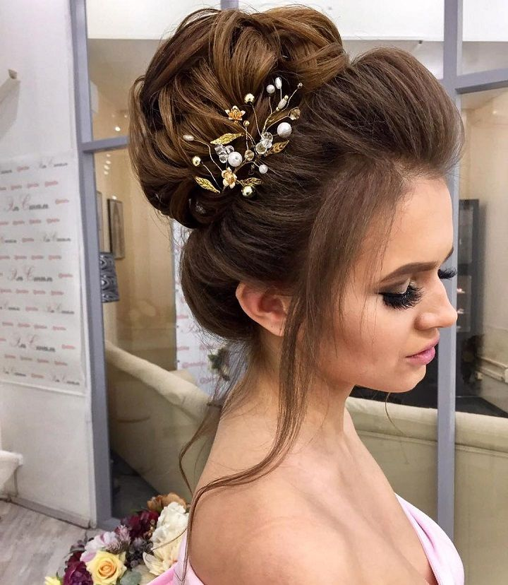 Bun-Pile-wedding-hairstyle 12 Wedding Day Killer Hairstyles for Curly Hair