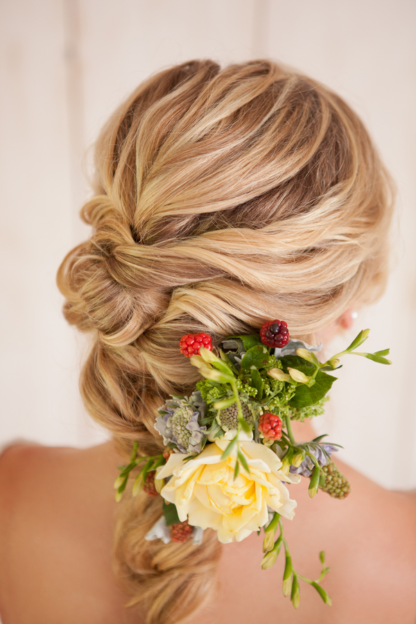 French-Braid-Flower-Twists 12 Wedding Day Killer Hairstyles for Curly Hair