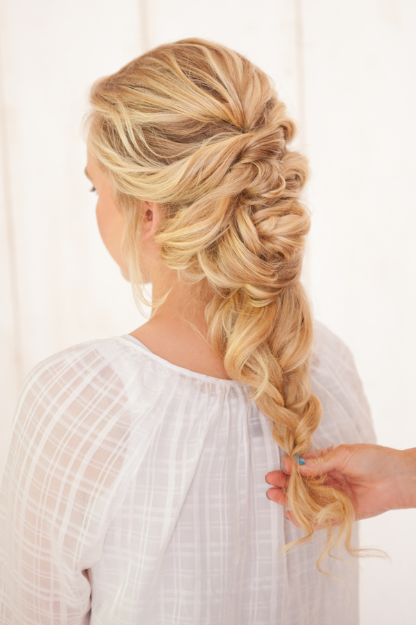 French-Braid-Flower-Twists1 12 Wedding Day Killer Hairstyles for Curly Hair
