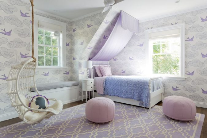 Lavender-Slide-Canopy-Big-children-bedroom-675x450 Canopy Beds through History... 35+ Bedroom Designs