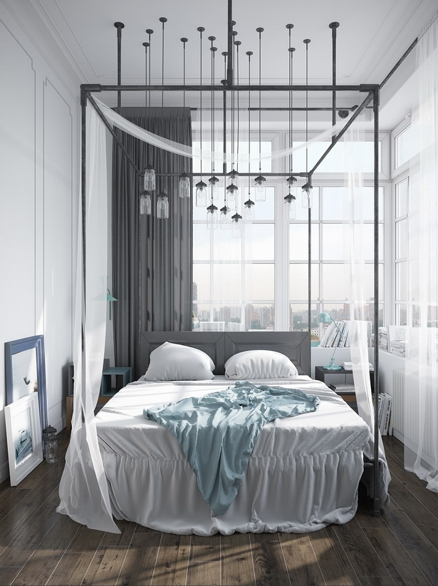 Modern-Pipe-Canopy-Bed-with-Simple-Headboard Canopy Beds through History... 35+ Bedroom Designs