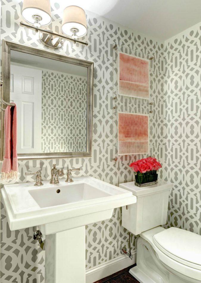 Patterned Powder Room Half Bathroom 675x950 Top 10 Stunning