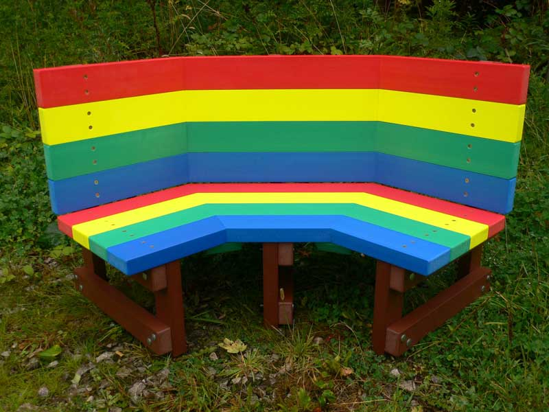 Rainbow-bench 15 killer Garden Bench Decoration Ideas