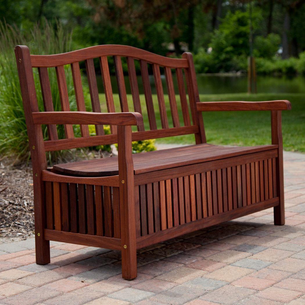 Storage-bench 15 killer Garden Bench Decoration Ideas