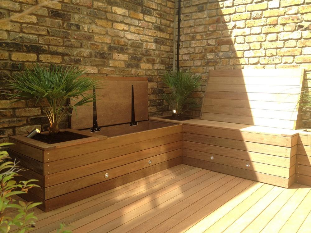Storage-bench2 15 killer Garden Bench Decoration Ideas