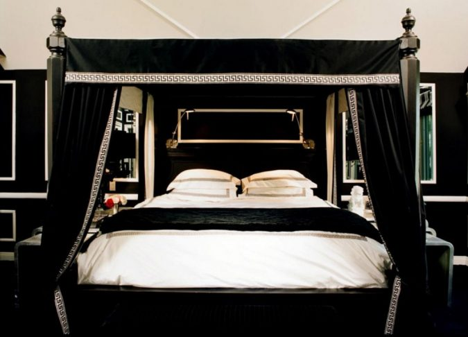 canopy-bed-black-and-white-royal-bedroom-675x486 Canopy Beds through History... 35+ Bedroom Designs