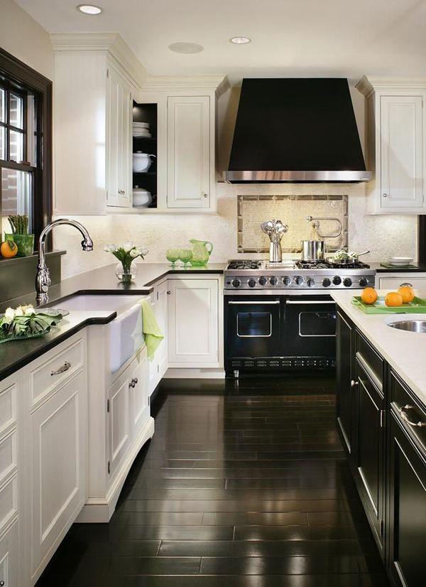 dark-wood-kitchen-black-white-kitchen Top 10 Best White Bright Kitchen Design Ideas