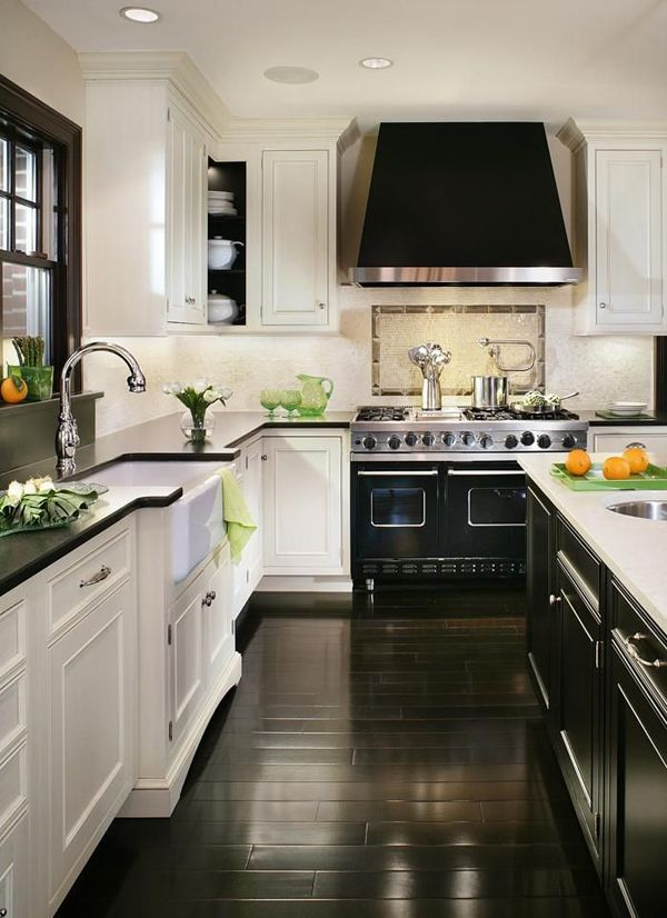 dark-wood-kitchen-black-white-kitchen Top 10 Best White Bright Kitchen Design Ideas