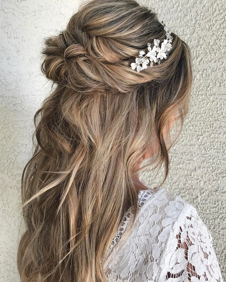 half-up-half-down 12 Wedding Day Killer Hairstyles for Curly Hair
