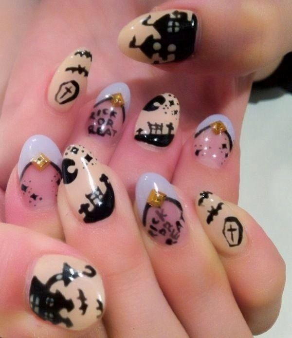 halloween-nail-ideas-126 89+ Seriously Spooky Halloween Nail Art Ideas