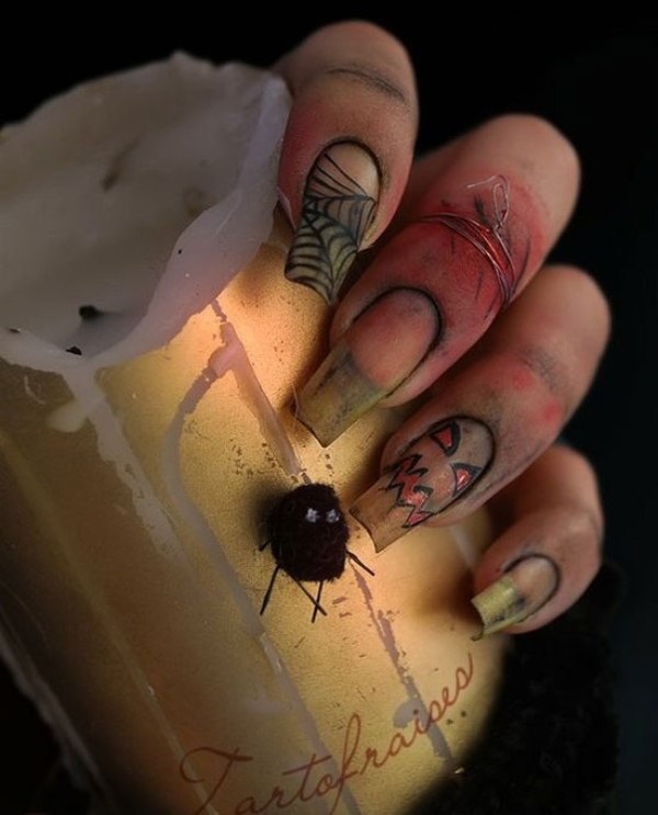 halloween-nail-ideas-134 89+ Seriously Spooky Halloween Nail Art Ideas