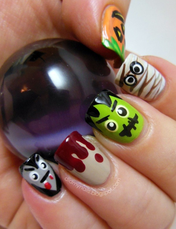 halloween-nail-ideas-140 89+ Seriously Spooky Halloween Nail Art Ideas