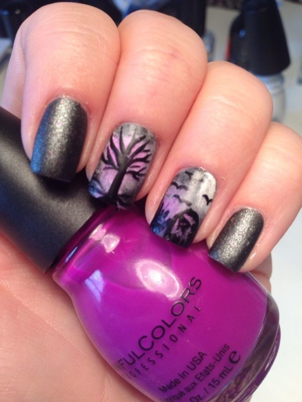 halloween-nail-ideas-145 89+ Seriously Spooky Halloween Nail Art Ideas