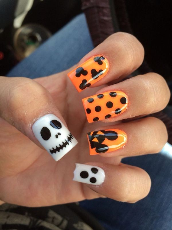halloween-nail-ideas-150 89+ Seriously Spooky Halloween Nail Art Ideas