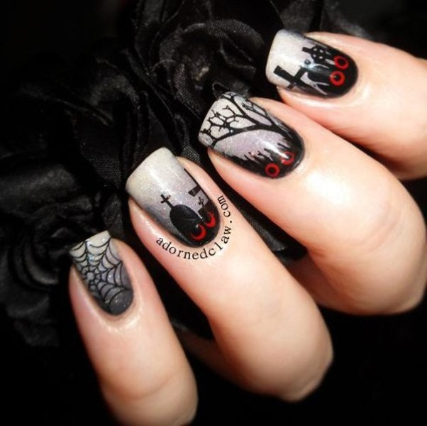 halloween-nail-ideas-166 89+ Seriously Spooky Halloween Nail Art Ideas