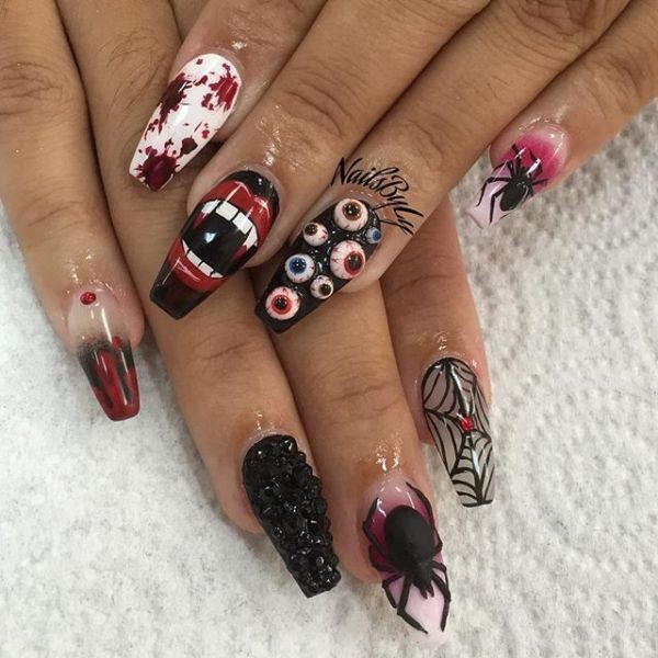 halloween-nail-ideas-32 89+ Seriously Spooky Halloween Nail Art Ideas