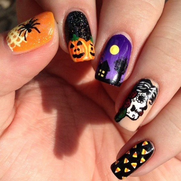 halloween-nail-ideas-42 89+ Seriously Spooky Halloween Nail Art Ideas
