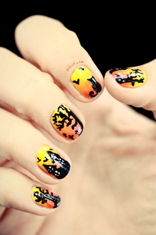 halloween-nail-ideas-6 89+ Seriously Spooky Halloween Nail Art Ideas