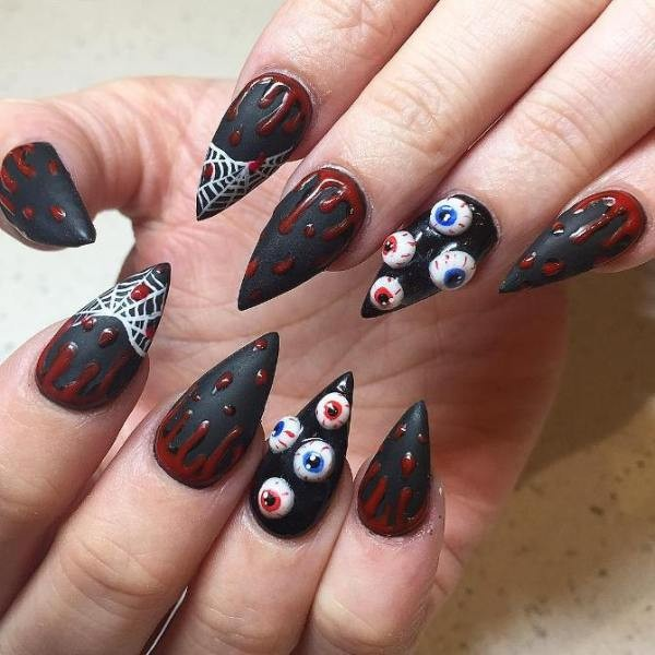 halloween-nail-ideas-77 89+ Seriously Spooky Halloween Nail Art Ideas