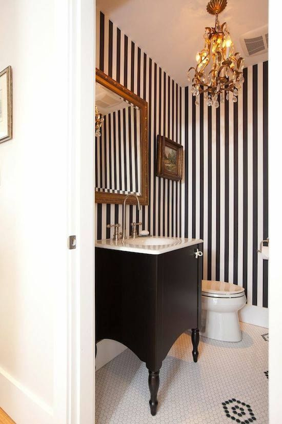 powder-room-design-striped-wall-black-and-white Top 10 Stunning Powder Room Decorating Ideas for 2018