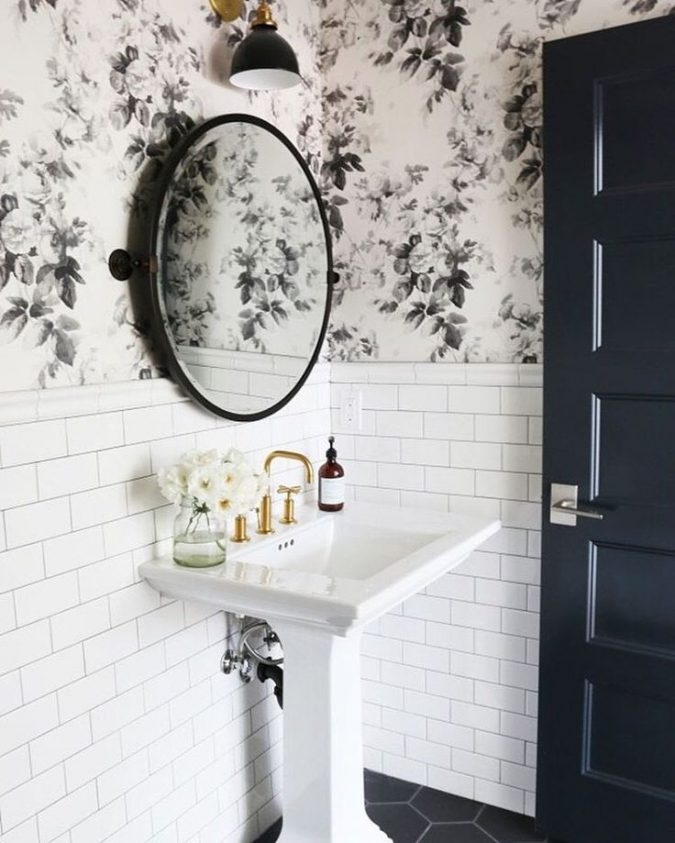 powder-room-floral-wallpaper-675x843 Top 10 Stunning Powder Room Decorating Ideas for 2018