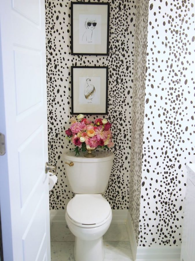 powder-room-half-bathroom-animal-textured-walls-2-675x900 Top 10 Stunning Powder Room Decorating Ideas for 2018