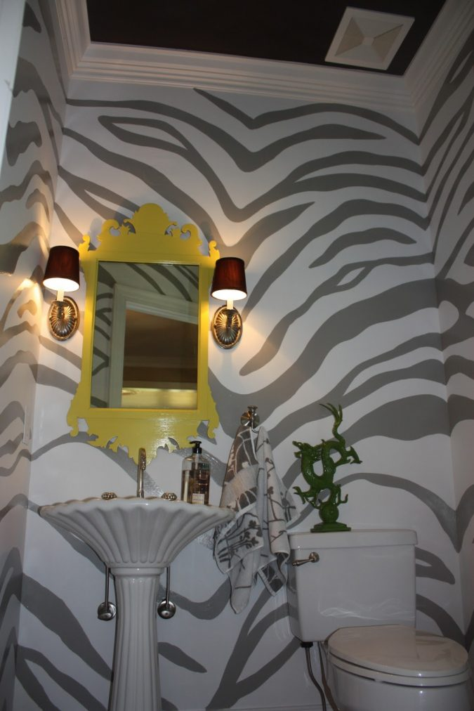 powder-room-half-bathroom-animal-textured-walls-675x1012 Top 10 Stunning Powder Room Decorating Ideas for 2020