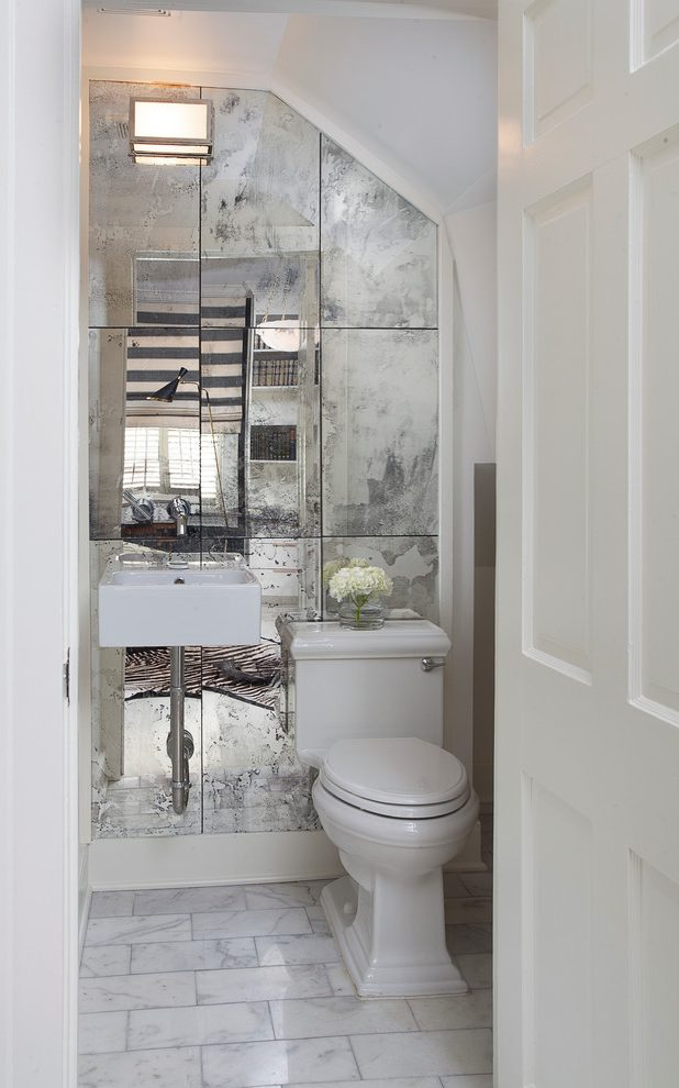 powder-room-half-bathroom-mirror-tiled-wall-2 Top 10 Stunning Powder Room Decorating Ideas for 2020
