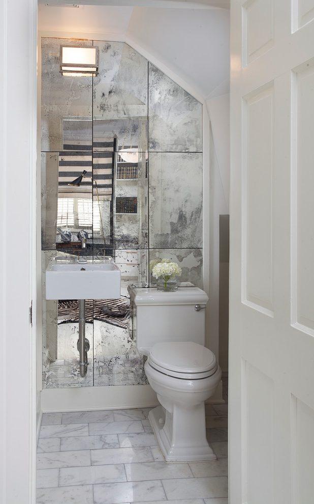 powder-room-half-bathroom-mirror-tiled-wall-2 Top 10 Stunning Powder Room Decorating Ideas for 2020