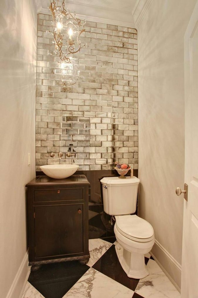 powder-room-half-bathroom-mirror-tiled-wall-675x1013 Top 10 Stunning Powder Room Decorating Ideas for 2018