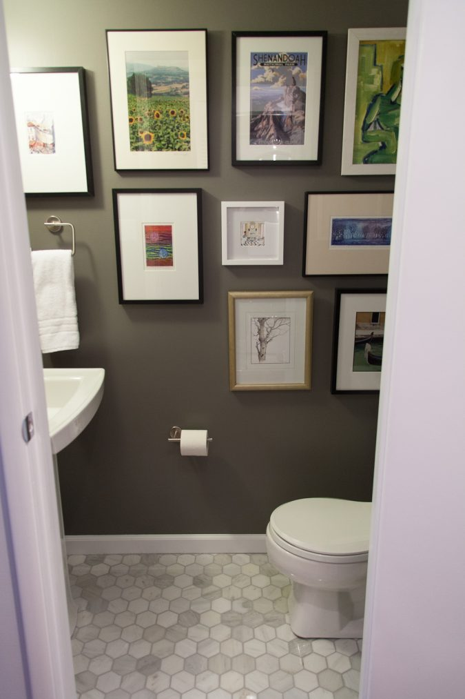 powder-room-half-bathroom-picture-gallery-wall-675x1013 Top 10 Stunning Powder Room Decorating Ideas for 2020