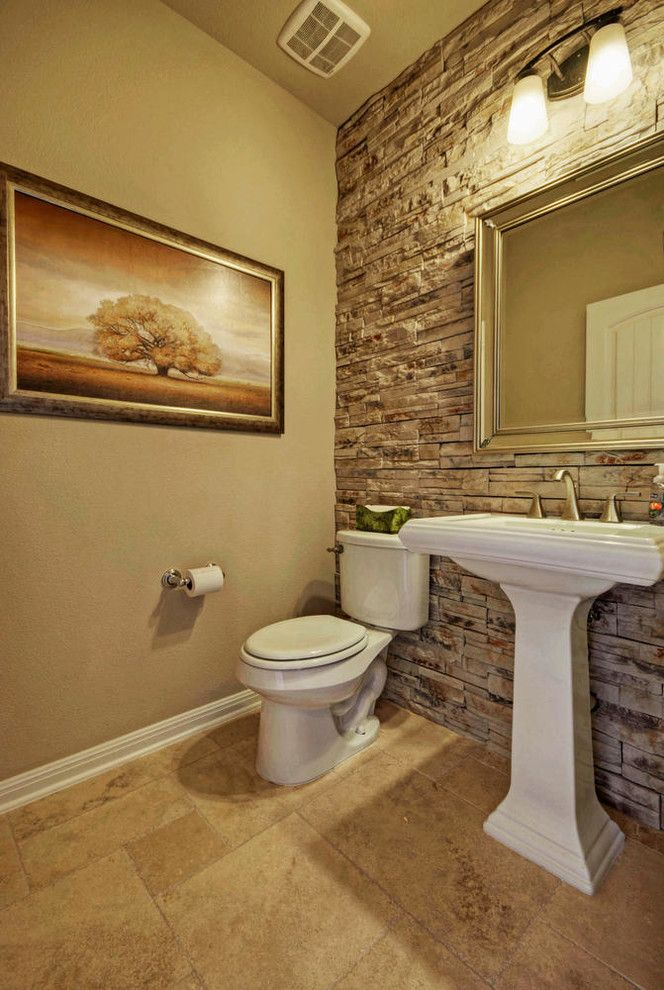 powder-room-half-bathroom-stone-tiled-wall-2 Top 10 Stunning Powder Room Decorating Ideas for 2018