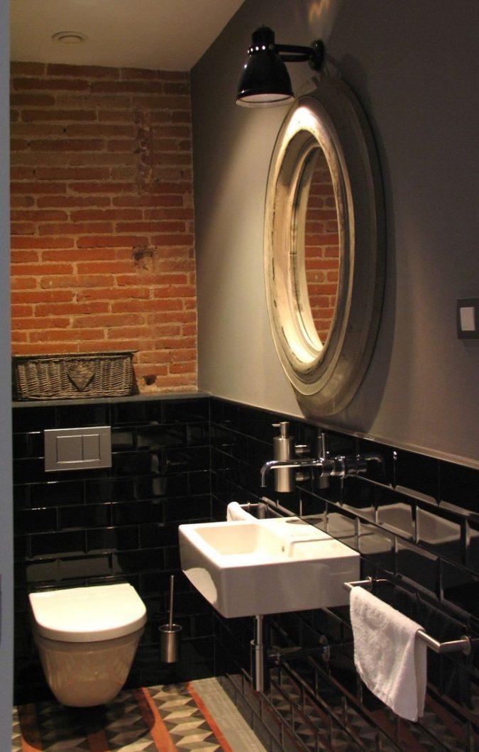 powder-room-half-bathroom-stone-tiled-wall-675x1059 Top 10 Stunning Powder Room Decorating Ideas for 2020
