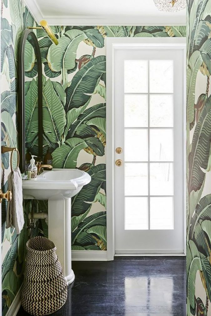 powder-room-leaves-wallpaper-1-675x1012 Top 10 Stunning Powder Room Decorating Ideas for 2020