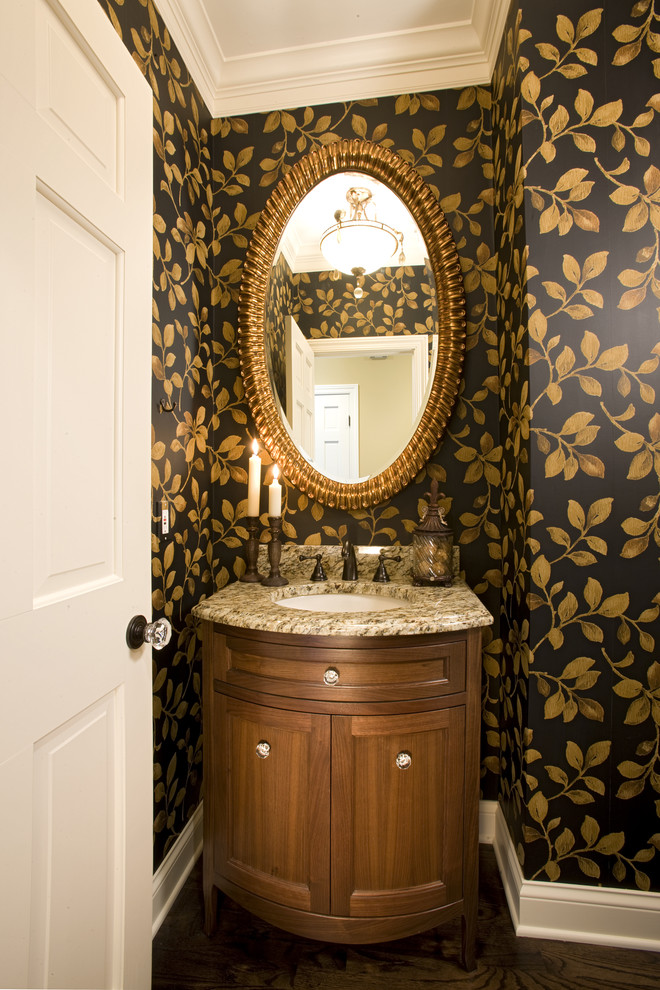 powder-room-leaves-wallpaper-2 Top 10 Stunning Powder Room Decorating Ideas for 2018