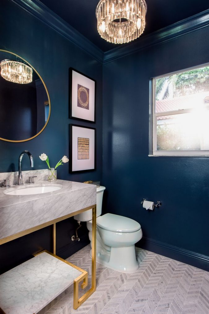 powder-room-navy-blue-walls-675x1011 Top 10 Stunning Powder Room Decorating Ideas for 2018