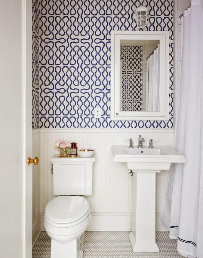 powder-room-patterned-wall-675x859 Top 10 Stunning Powder Room Decorating Ideas for 2018