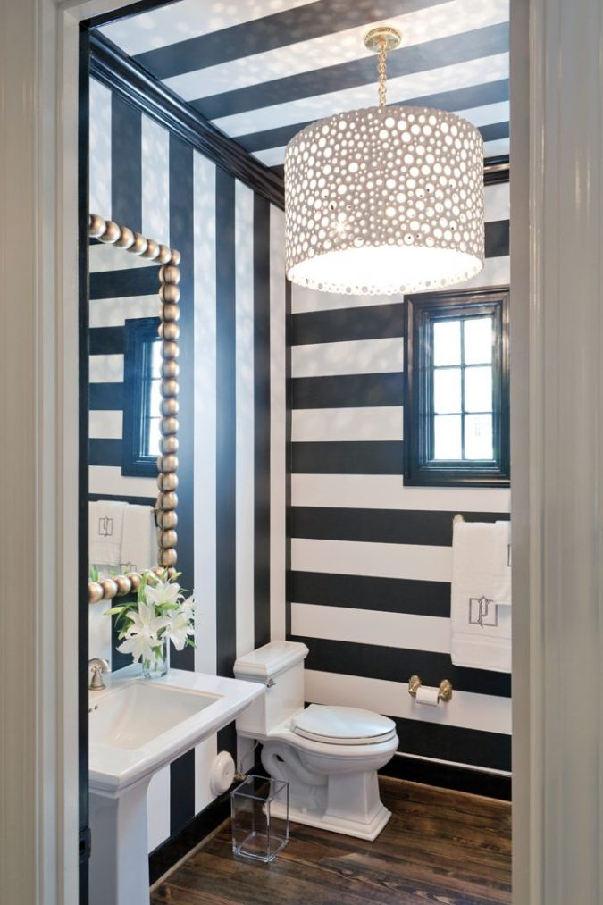 powder-room-striped-walls-balck-and-white-675x1013 Top 10 Stunning Powder Room Decorating Ideas for 2020