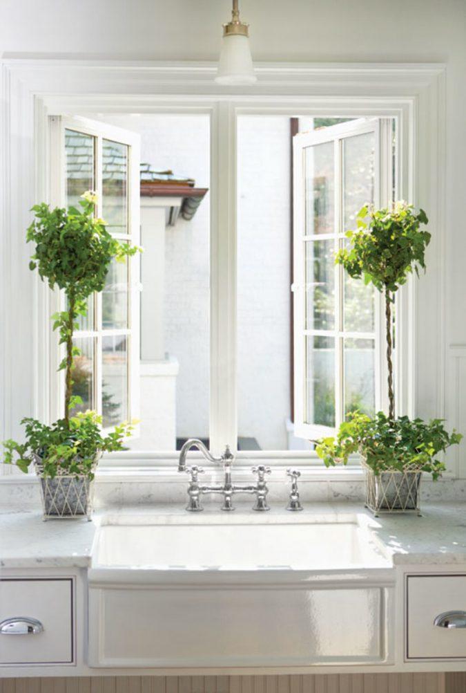 white-kitchen-houseplants-675x1002 Top 10 Best White Bright Kitchen Design Ideas