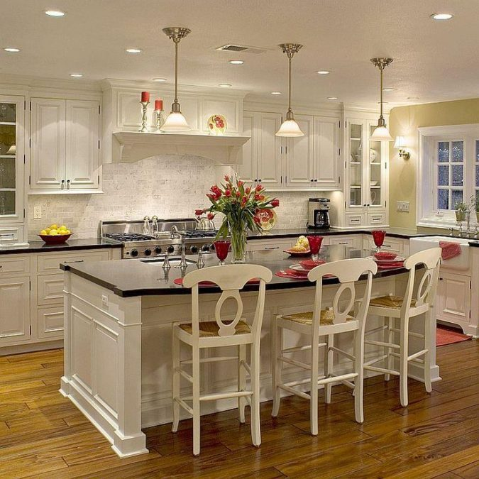 white-kitchen-with-dark-surfaces-675x675 Top 10 Best White Bright Kitchen Design Ideas