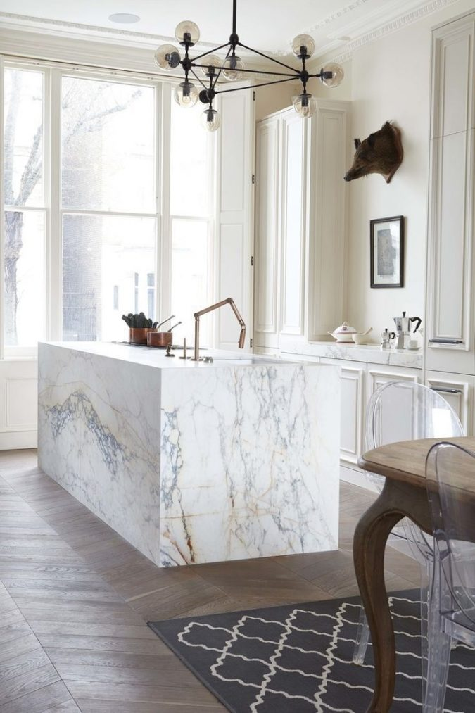 white-kitchen-with-marbel-surfaces-675x1013 Top 10 Best White Bright Kitchen Design Ideas
