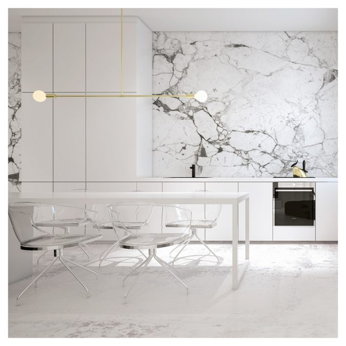 white-kitchen-with-marbel-walls-675x675 10 Outdated Kitchen Trends to Substitute in 2021