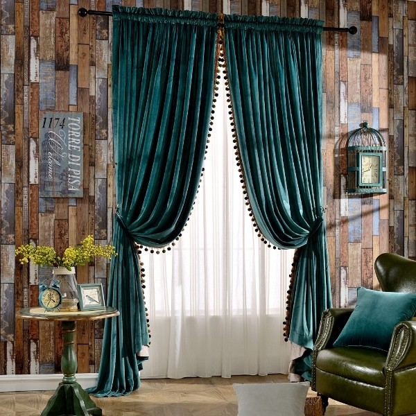 blackout-curtains-with-fur-balls-5 7 Luxurious Blackout Curtain Ideas That Will Turn Your Window into a Piece of Art