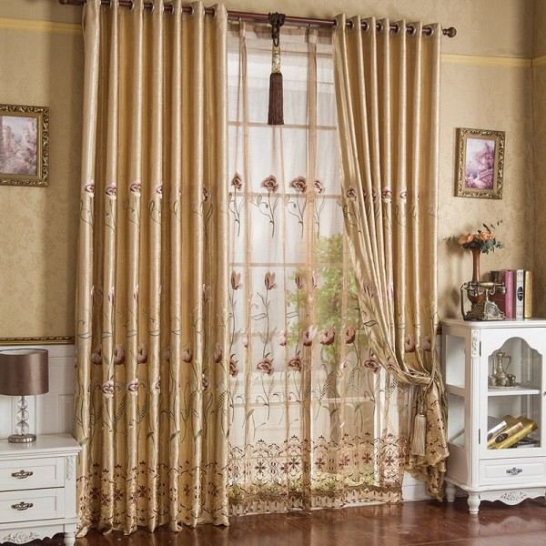 embroidered-blackout-curtains-10 7 Luxurious Blackout Curtain Ideas That Will Turn Your Window into a Piece of Art