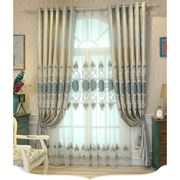 embroidered-blackout-curtains-4 7 Luxurious Blackout Curtain Ideas That Will Turn Your Window into a Piece of Art