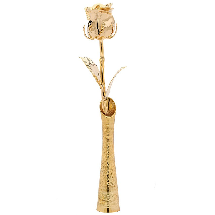 gold-eternity-rose-in-gold-vase Eternity Rose As a Perfect Romantic Gift to Express Your True Love